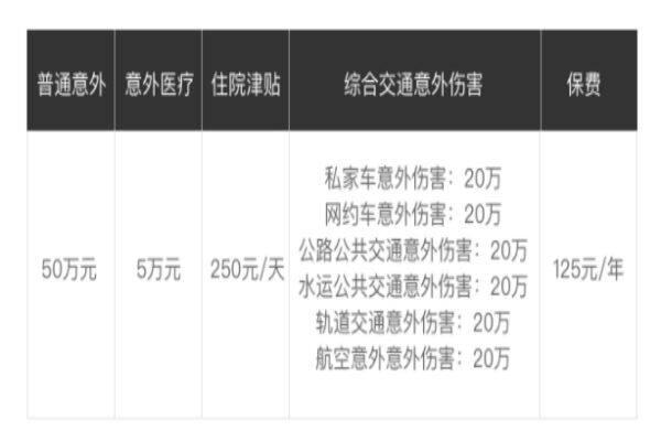 上海人寿小黄蜂意外险保障情况表
